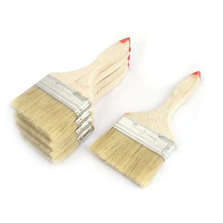 Painter Wood Handle Nylon Hair Paint Painting Brushes 6 Pcs 4  Width Beige (Nylon Paint Brush)