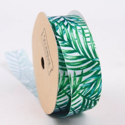 LaRibbons 1inch Palm Tree Printed Single Face Satin Ribbon Green/White 10 Yard Spool ()