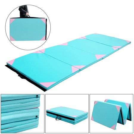 Gymax 4x10x2 Gymnastics Mat Thick Folding Panel Gym Fitness Exercise Pink & Blue