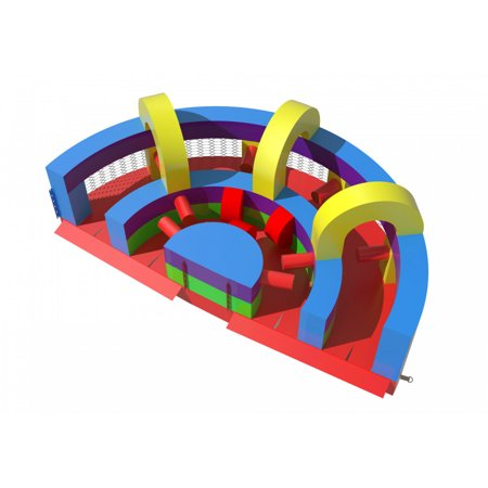 Pogo Retro U-Turn Commercial Inflatable Obstacle Course with Blower Kids Bouncy -