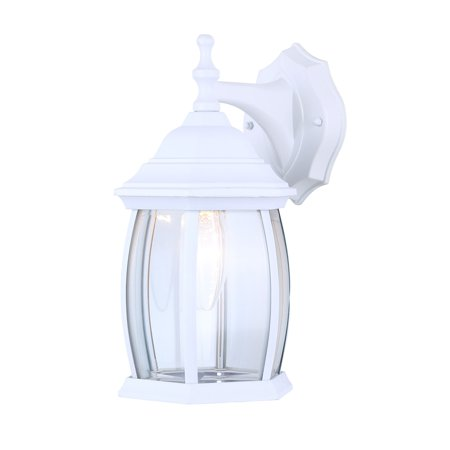 Outdoor Sconce Finish - Exterior Outdoor Light Fixture Wall Lantern Sconce Clear Curved Beveled Glass, White Finish