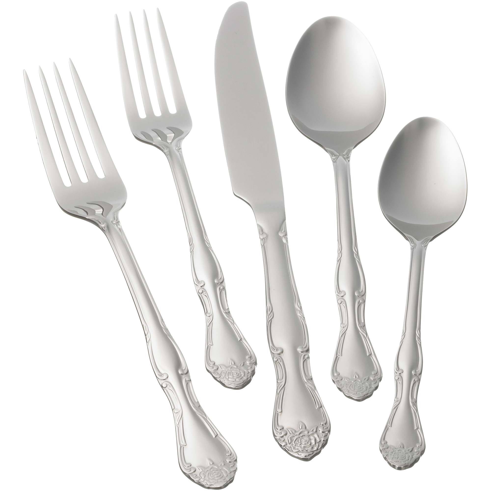 Mainstays English Rose 20-Piece Flatware Set