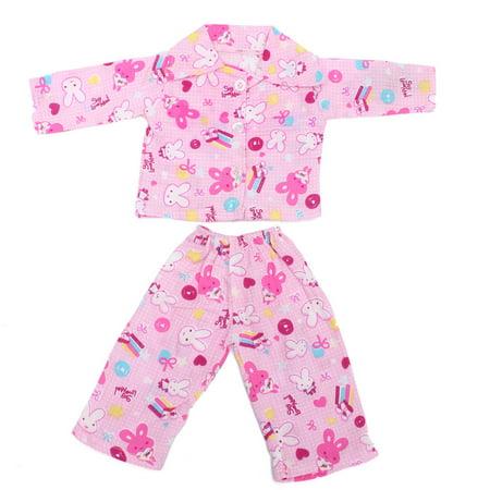 Moaere 18'' Pink Rabbit Nightwear Doll Sleep Clothes Set Newborn Reborn Baby Girl Gift
