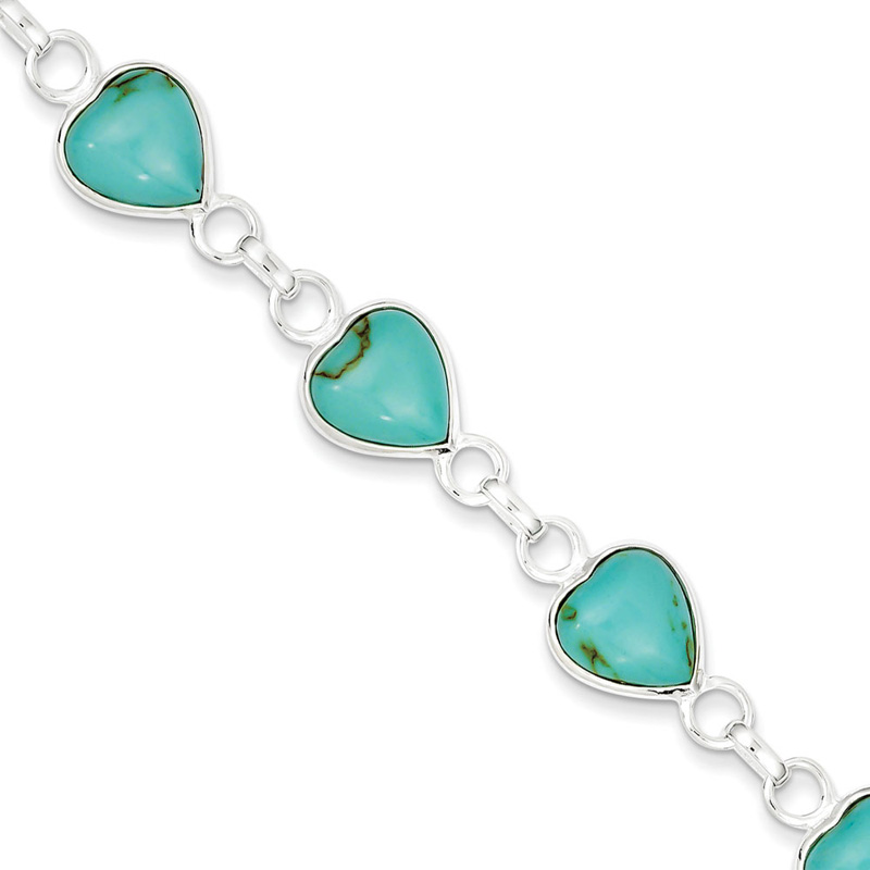 Sterling Silver 7in Polished Heart-shaped Turquoise Bracelet by Kevin Jewelers