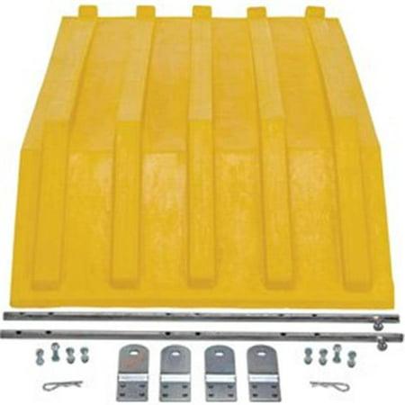 Vestil Manufacturing PLID-H-50-YL Yellow Plastic Lid for Triple-Bin Recycling Hopper
