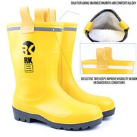 RK Men's Insulated Waterproof Fur Interior Rubber Sole Winter Snow Cold Weather Rain Boots - 13 D(M) US