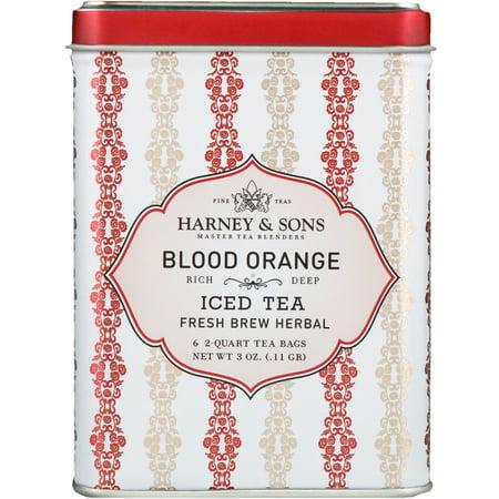 Harney   Sons  Blood Orange Iced Tea  6 - 2 Quart Tea Bags  3 oz  0 11 g (Blood Bags)