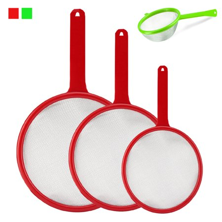 3 Pc Strainer Set Multi Purpose Food Colander w Handle Kitchen Sieves Drain Tool
