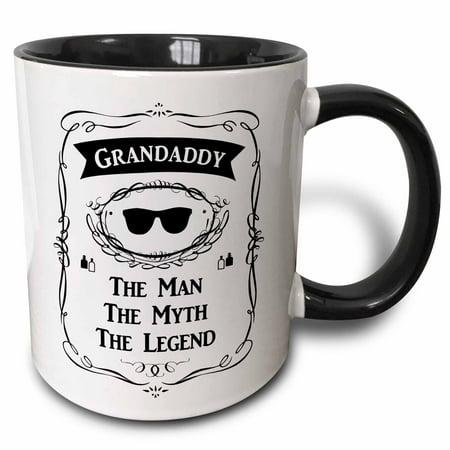 Coil Mug - 3dRose Grandaddy The Man The Myth The Legend cool grandpa grandfather gift - Two Tone Black Mug, 11-ounce