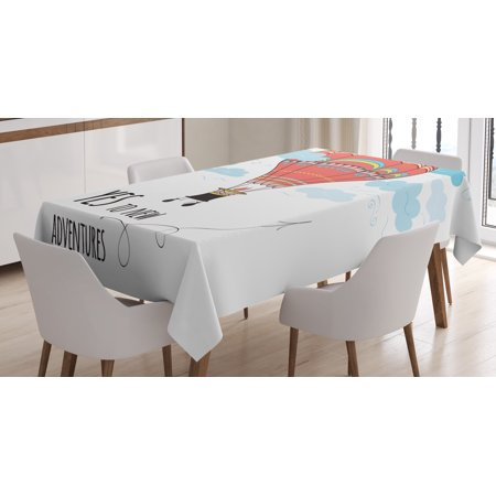Cartoon Tablecloth Inspirational Quote Say Yes To New Adventures