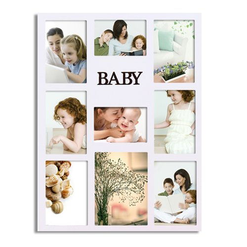 Adeco Trading 9 Opening Decorative ''Baby'' Wall Hanging Collage Picture Frame