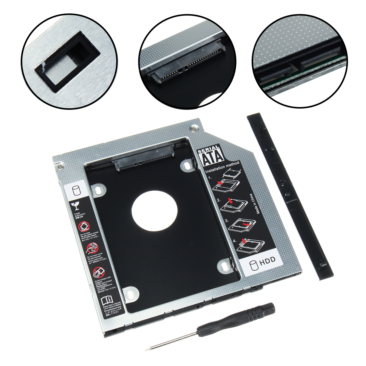 12.7mm Universal SATA 2nd HDD Caddy SSD Hard Drive+Panel for DVD-ROM Optical Bay