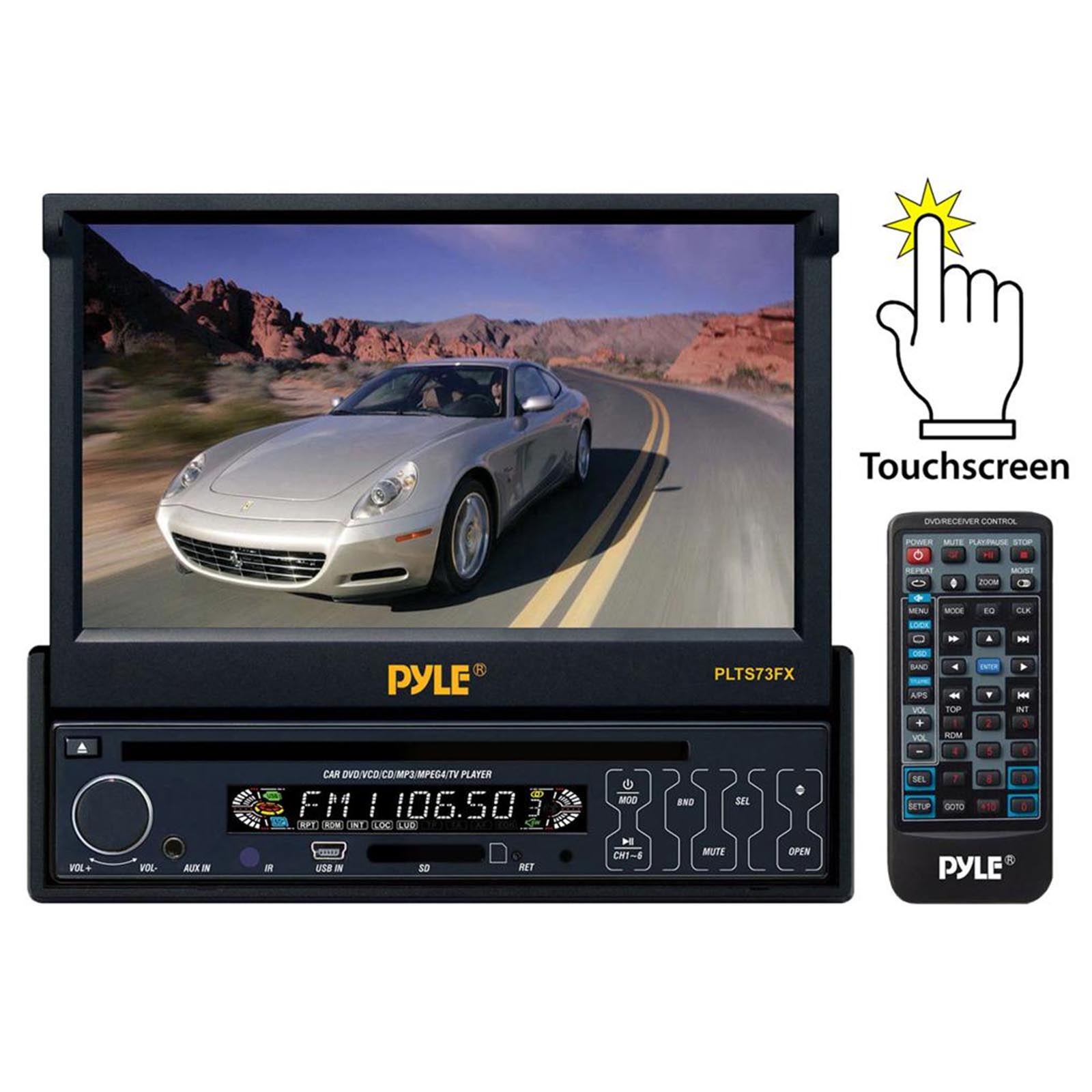 "Pyle 7"" Single DIN In-Dash Motorized TFT/LCD Monitor w/ DVD/CD/MP3/MP4/USB/SD/AM-FM Player"