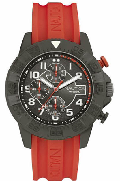 Men's Nautica Chronograph NSR 104 Orange Silicone Straps Watch NAD17514G by Nautica