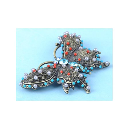 Vintage Inspire Turquoise Bead Southwest Crystal Rhinestone Butterfly Pin Brooch Turquoise Vintage Brooch