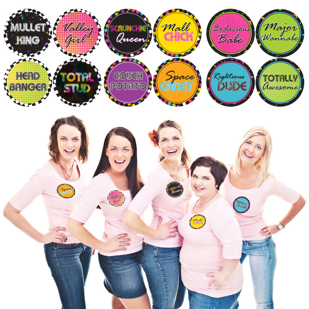 80's Retro - Totally 1980s Party Funny Name Tags - Party Badges Sticker Set of 12
