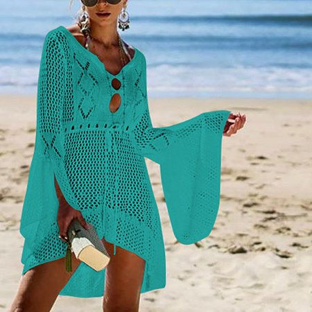 Women's Hollow Out Knitted Dresses Flare Sleeve Beach Blouse Sunscreen Cover - Double Flare White Plugs