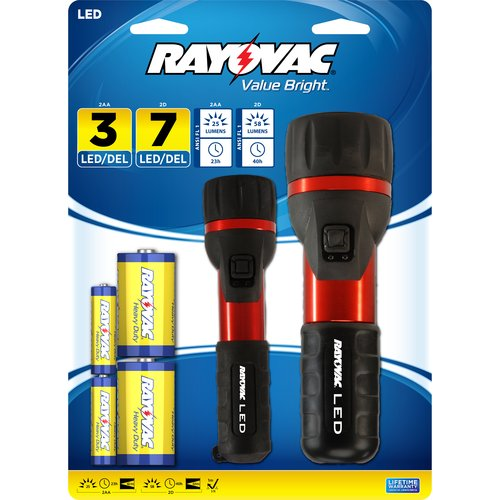 Rayovac 2AA/2D LED Flashlight, Red/Black Combo