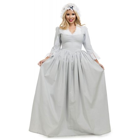 Colonial Woman Adult Costume Grey - Large