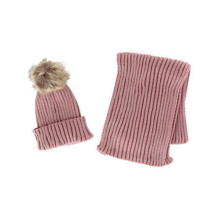 Girl's 4-14 Ribbed Cuff Cap with Pom and Matching Scarf Set ()