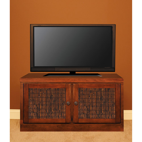 "48"" Console with Transitonal Handles & Bamboo Door Inserts, Cherry"