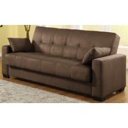 Napa Convertible Sofa Bed in Java Microsuede w 2 Pillows