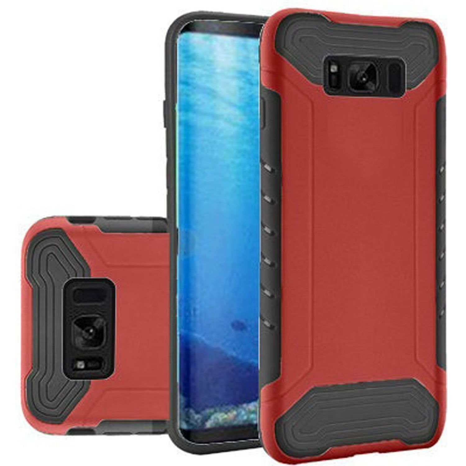 Samsung Galaxy S8 Case, by Insten Slim Armor Dual Layer [Shock Absorbing] Hybrid Hard Plastic/Soft TPU Rubber Case Phone Cover For Samsung Galaxy S8, Red/Black