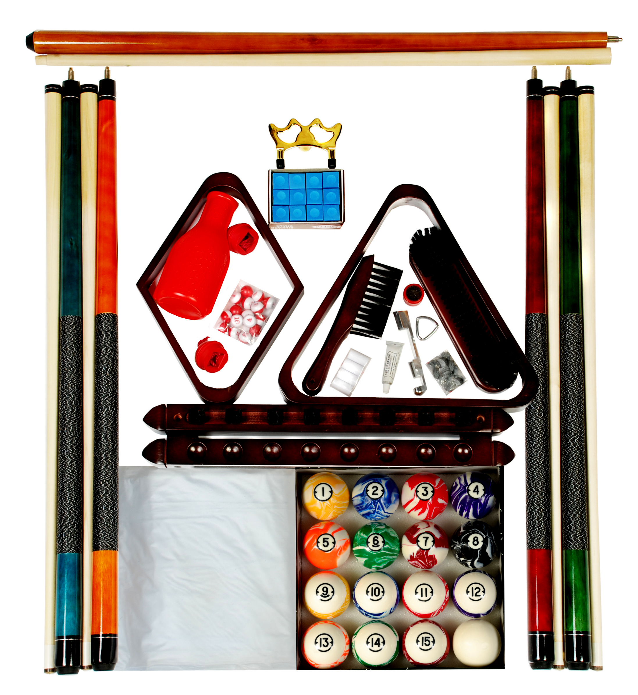Pool Table Accessory Kit W Classic Style Marble Balls Mahogany Finish