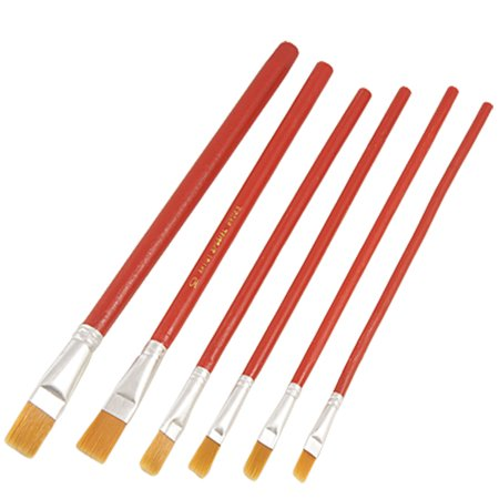 Unique Bargains 6 Pcs Soft Head Red Art Water Color Oil Painting Brush Red