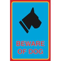 Beware Of Dog Print Dog Face Silhouette Animal Picture Outdoor Safety Sign Aluminum Metal