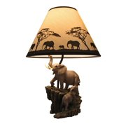 Resin Table Lamps Elephants On Expedition Sculptural Table Lamp W/Decorative Shade 7.5 X 18.5 X 6 Inches Multicolored