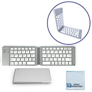 Foldable Bluetooth Keyboard for Computers, Laptops, Tablets, Smartphones, iPhones, Samsung, Android, iPads (Grey) + eCostConnection Microfiber Cloth
