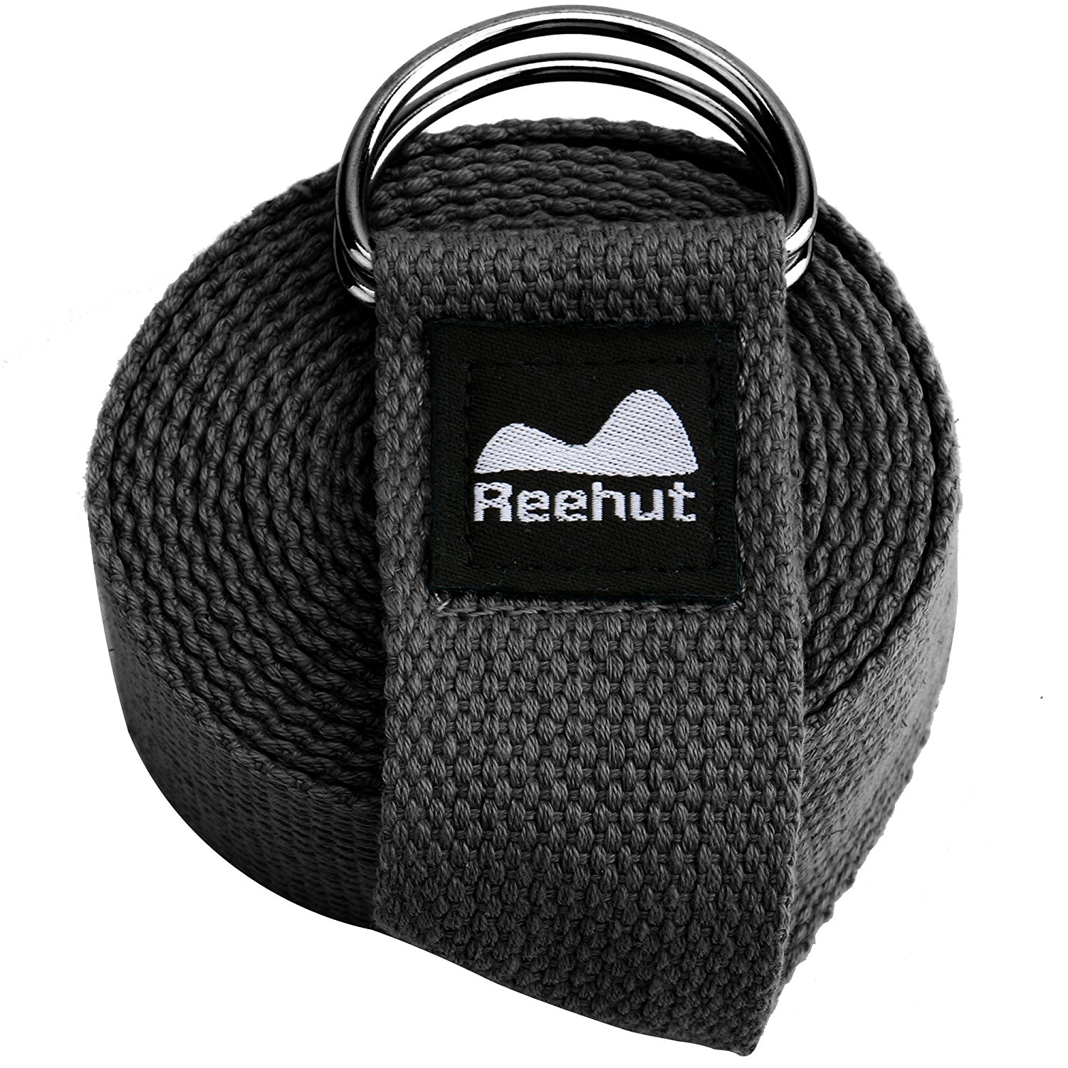 Reehut Fitness Exercise Yoga Strap w  Adjustable D-Ring Buckle for Stretching, Flexibility and Physical Therapy (Black,... by REEHUT