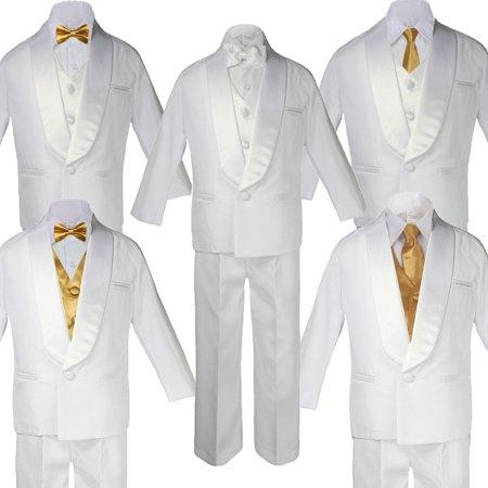 Baby Teen White Satin Shawl Lapel Suits Tuxedo GOLD Satin Bow Necktie (Satin Shawl Vest)