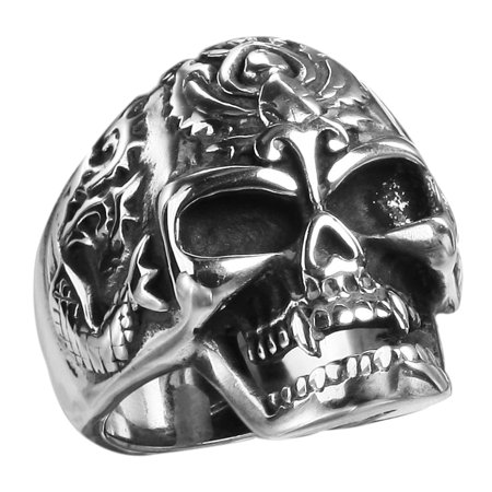 Stainless Steel Skull Ring w/ flames on head and small Dragons on each side(Available in Sizes 7 to 11) size 12 - Dragon Ring Jewelry
