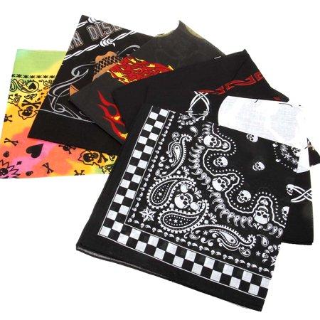 BMC 6pc Skull Theme Mix Color Cotton Fabric Extra Large 21 Inch Square Bandannas