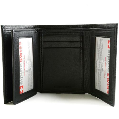 Alpine Swiss Mens Trifold Wallet Extra Capacity Multiple Card Slots 2 ID Windows Black One Size
