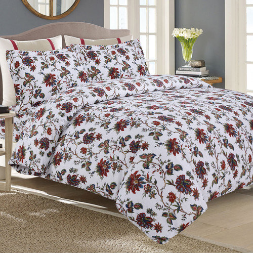 Tribeca Living Flannel 3 Piece Duvet Cover Set