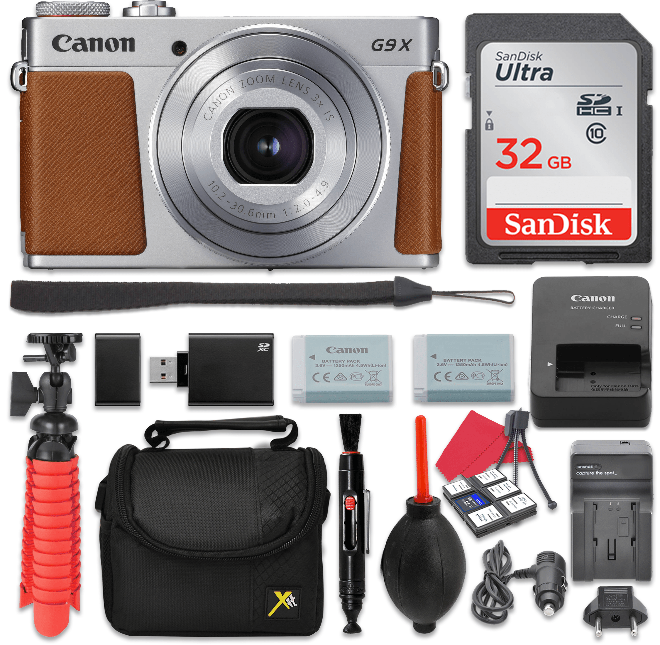 Canon PowerShot G9 X Mark II Digital Camera (Silver) 3x Optical Zoom + 32GB SD + Spare Battery + Complete Accessory Bundle