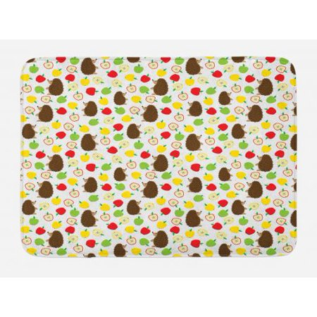 Hedgehog Bath Mat, Cute Baby Mammals with Lively Colored Apples Cut in Half Food Cheerful Wildlife, Non-Slip Plush Mat Bathroom Kitchen Laundry Room Decor, 29.5 X 17.5 Inches, Multicolor, Ambesonne (Halloween Covered Apples)