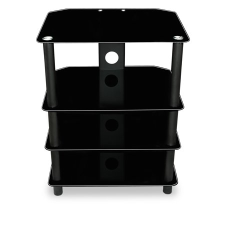 Mount-It! TV Media Stand, Glass Shelves, Audio Video Components, Storage for Xbox, Playstation, Laptop, Speakers, Cable Boxes, 88 Lb Load Capacity, Black Silk (Mi-867)