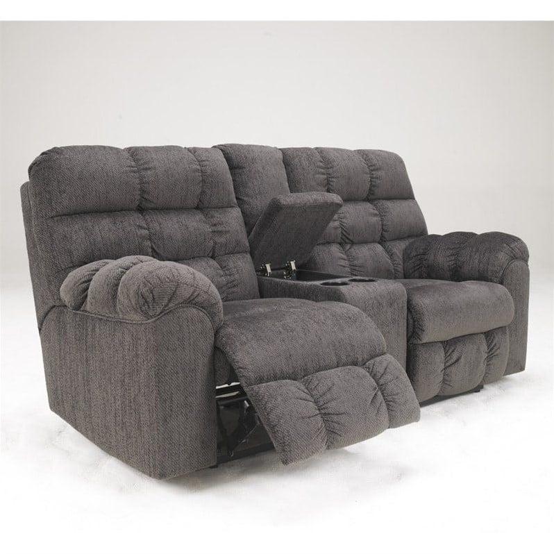 Ashley Furniture Acieona Microfiber Double Reclining Loveseat in Slate by Ashley Furniture