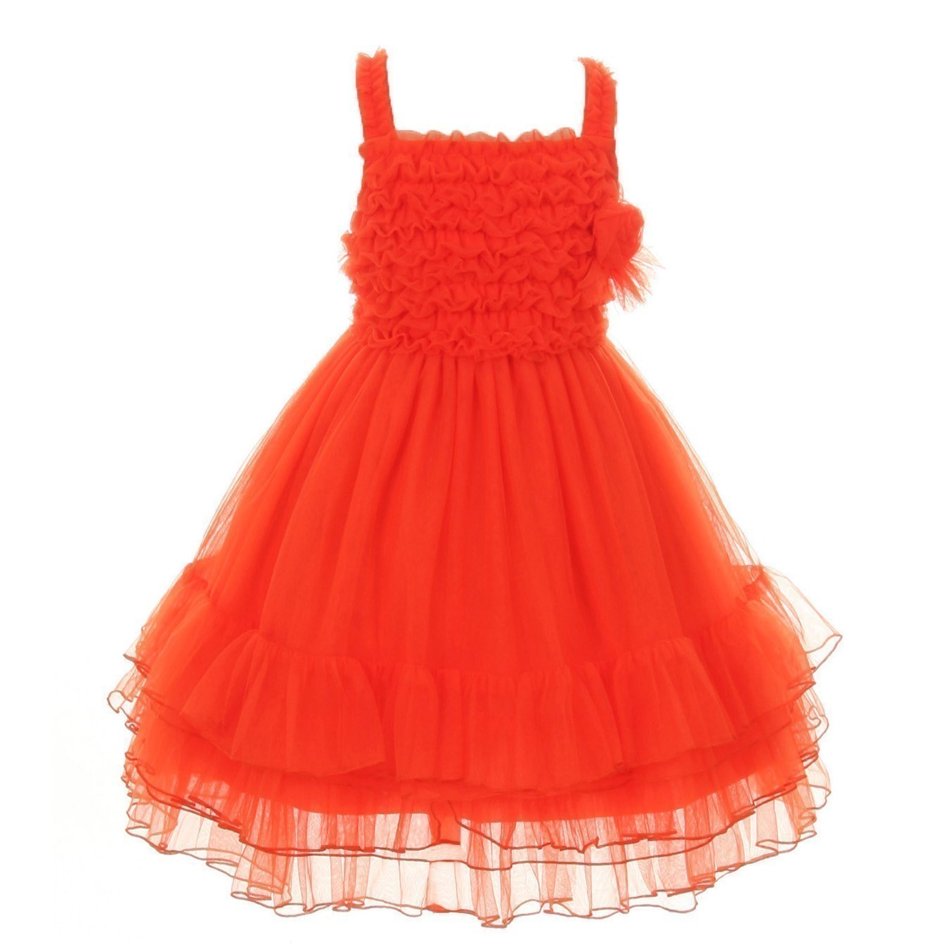 Kids Dream Little Girls Orange Ruffled Flower Mesh Tutu Special Occasion Dress 6