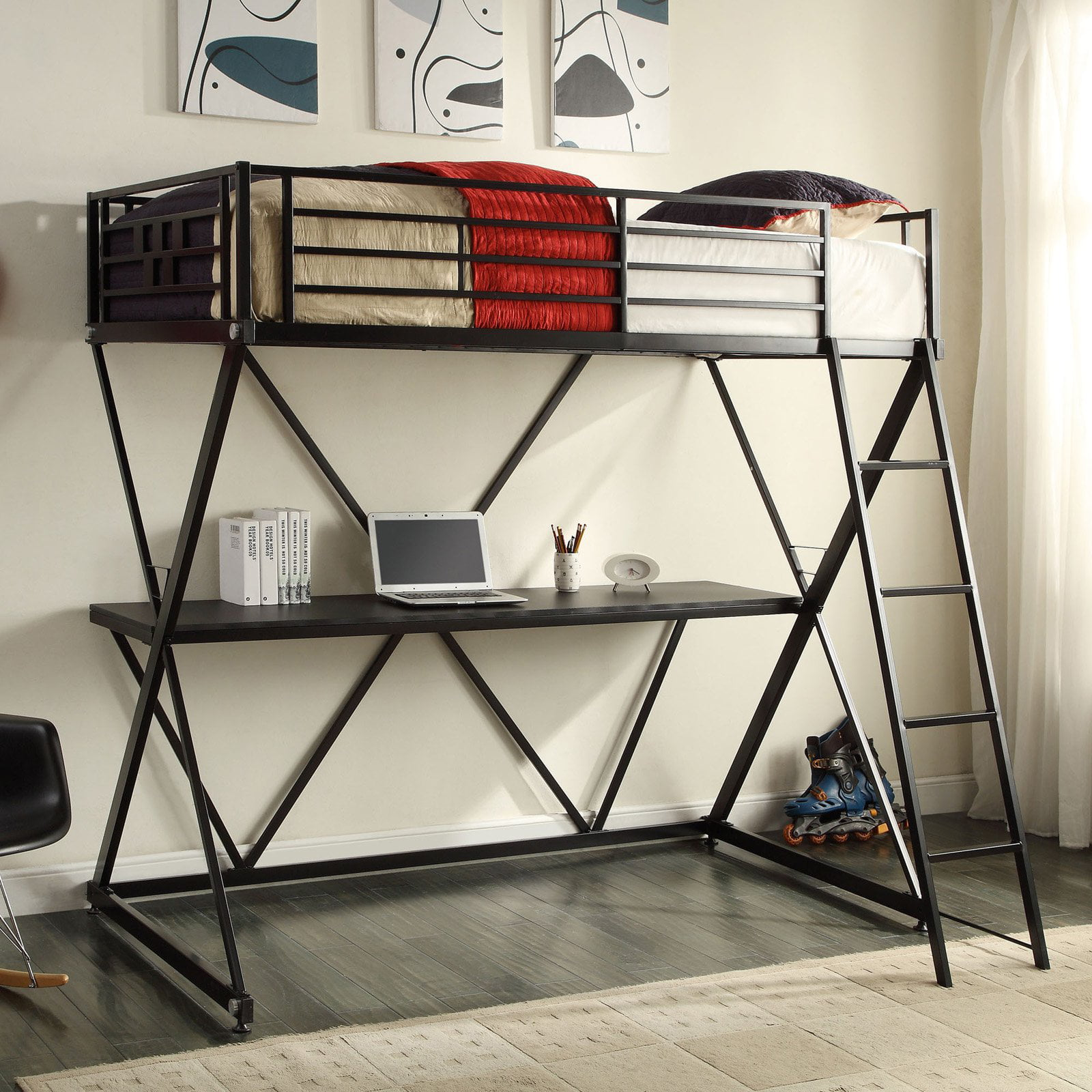 4D Concepts Zinnia Twin Loft Bed with Desk Black by 4D Concepts
