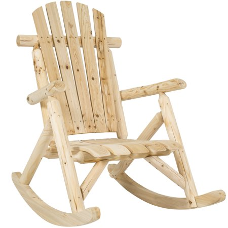 Best Choice Products Indoor Outdoor Wooden Log Rocking Chair Seat Accent Furniture w/ Armrests, Fanned Back, and Sloped Seat,