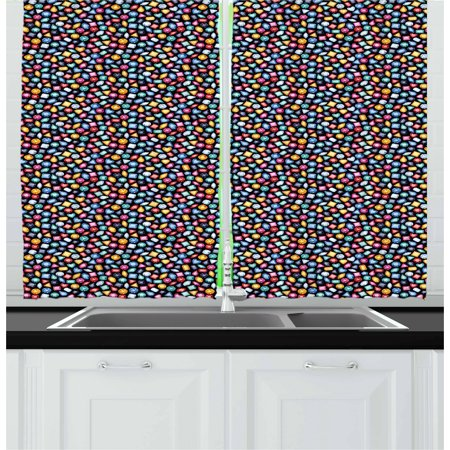 Diamonds Curtains 2 Panels Set, Graphic Geometric Patterns on Colorful Stones Triangles and Rhombus Crystal Design, Window Drapes for Living Room Bedroom, 55W X 39L Inches, Multicolor, by Ambesonne