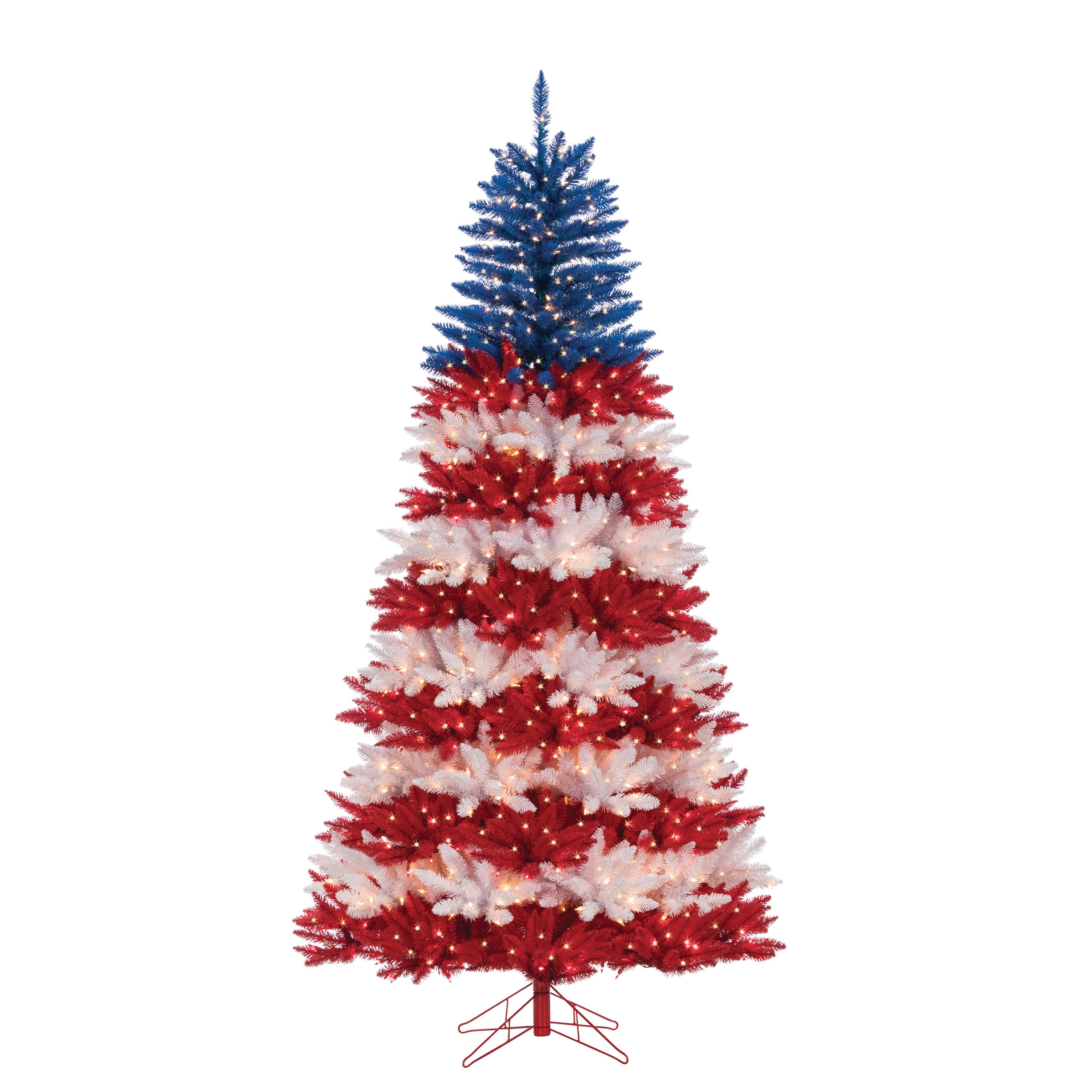 Gerson 7.5Ft. Patriotic America Tree in Red, White and Blue with 1040 Clear Lights and 10 Twinke Lights on Top Section