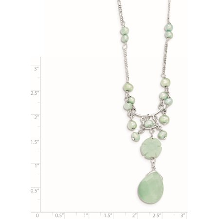 925 Sterling Silver Amazonite/Green FW Cultured Pearl Necklace - image 2 of 3