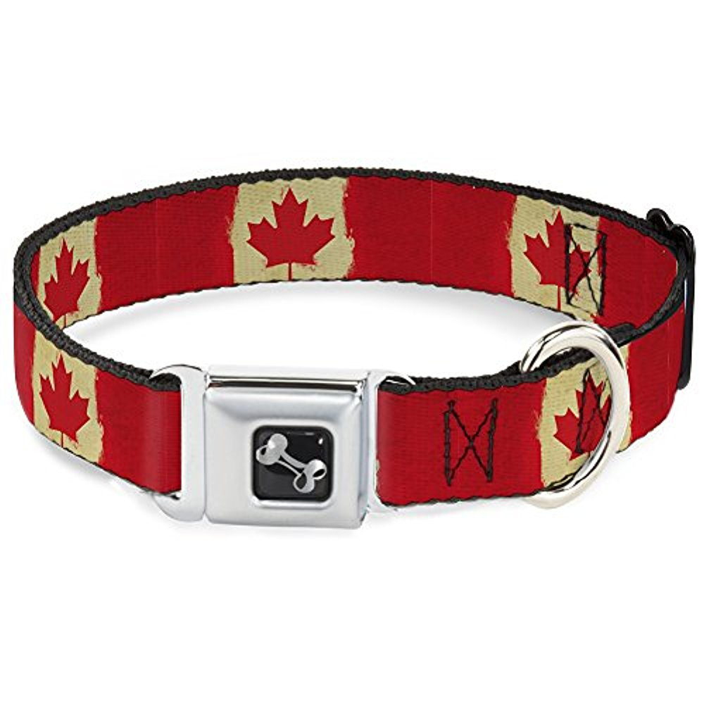 Buckle-Down Canada Flags Dog Collar Bone, Large 15-26""