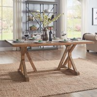 Weston Home Warner Rectangular Wood Dining Table with Concrete Inlay, Natural Finish